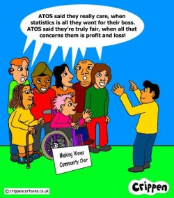 The cartoon shows a choir, consisting of people of diverse ethnicity and gender, and with various impairments, being conducted by an Asian male.