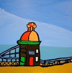 Brighton Pier by Thompson Hall depicts its namesake in lurid colours and childlike, whimsical style.