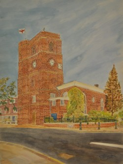 A picture of Frederick Heymann's painting Chelsea Old Church. Watercolour on canvas.