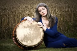 Photo of percussionist Evelyn Glennie with a drum