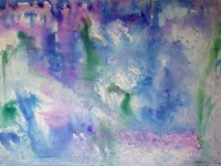 Abstract watercolour titled Choan Blue Ray