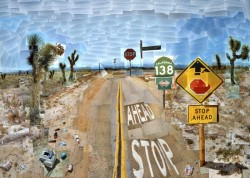 brightly coloured landscape painting by David Hockney