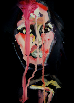 Photograph of one of Rachel Gadsen's paintings; a lady's face  with three lines of ink running over it against a black background