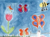 Watercolour of a series of people with butterfly wings and a large bumble bee in a bright blue sky. A large tulip dominates the left-hand side of the painting.