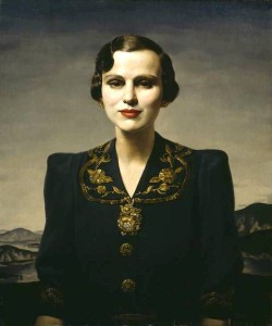 a stylish portrait painting of a woman in 1930s clothes