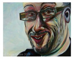 painting of tony heaton looking askance, with a big smile on his face