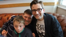 photo of comedian laurence clark and son with actor david tennant