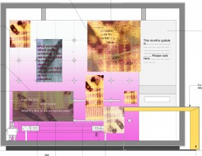 Early ideas of planning how to use imagery and text suspended within the temporary exhibitions case
