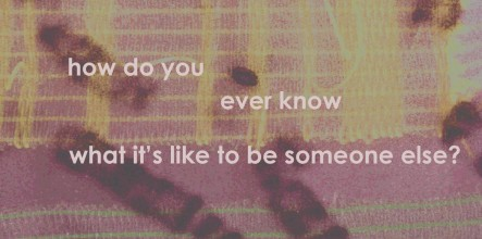 image of chromosomes with text saying how do you ever know what it's like to be someone else?