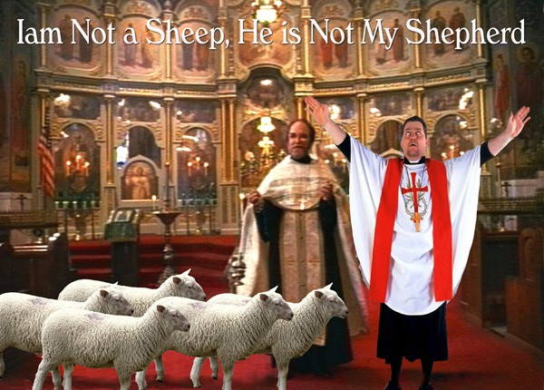 I am not a sheep he is not my shepherd photomontage by Phil Lancaster