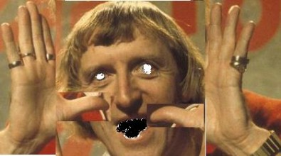 a manipulated image of jimmy savile placing more emphasis on his hands rather than his face