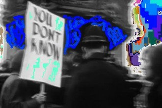 photo of a protestor pictured holding up a placard