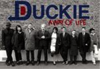 Duckie flyer with a group of mods and rockers